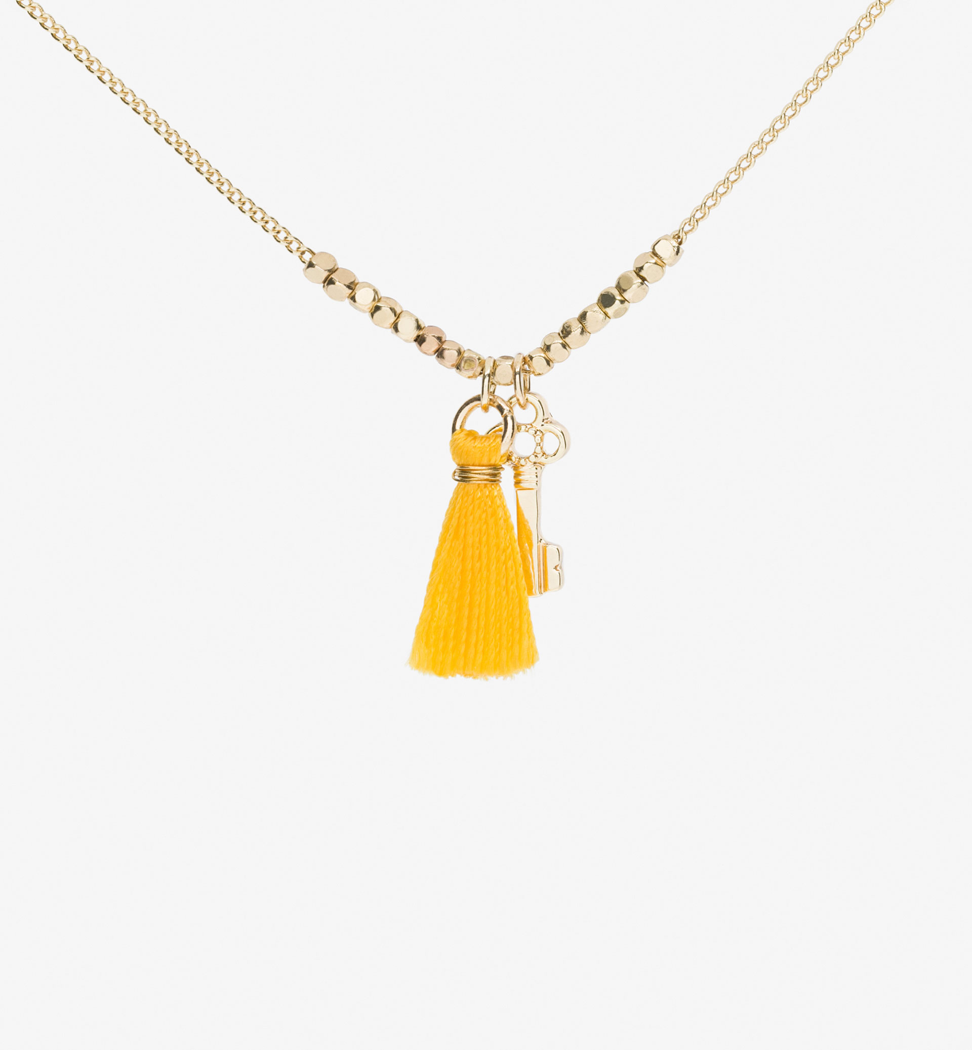 KEY AND POMPOM NECKLACE