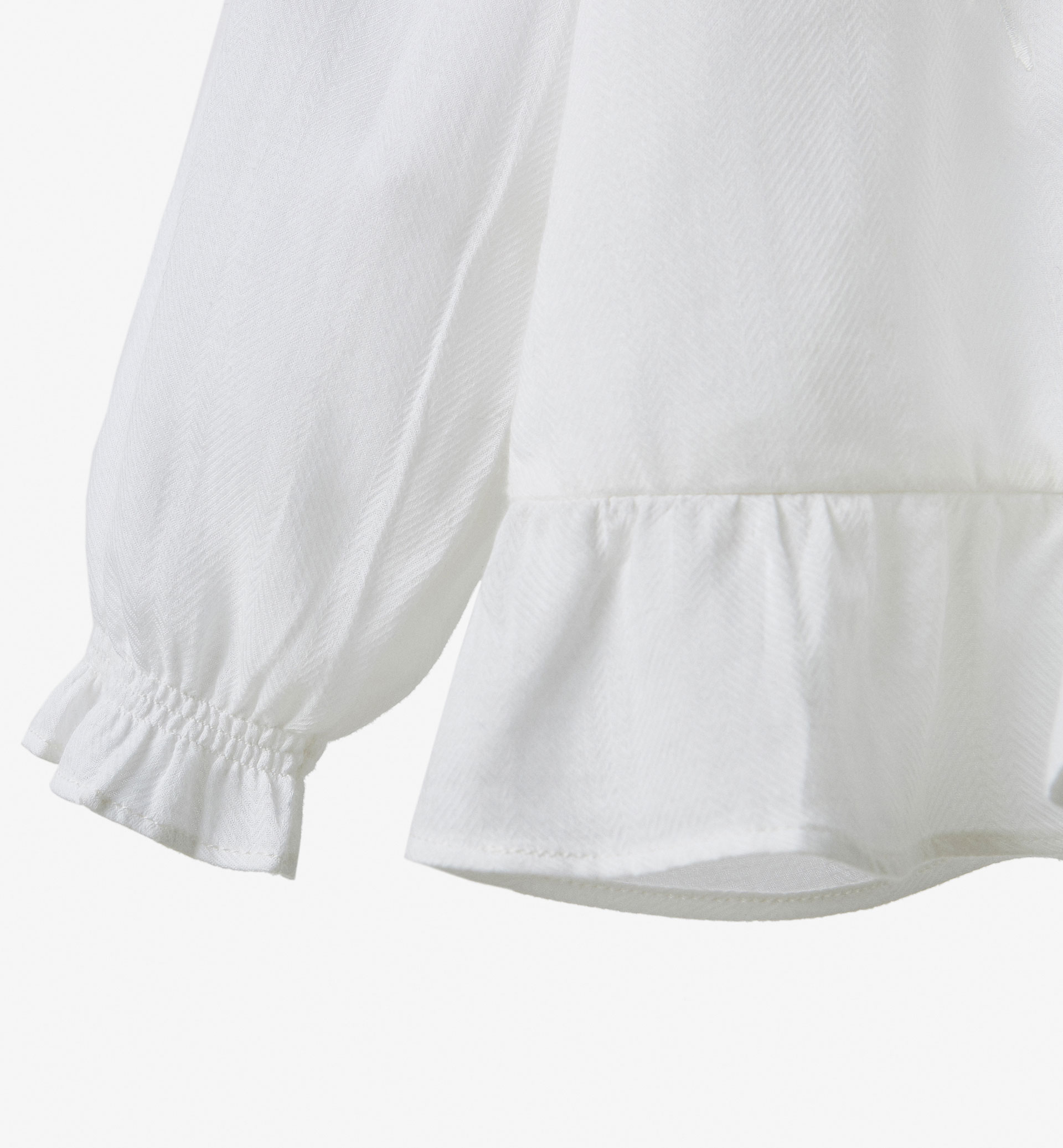 EMBROIDERED SHIRT WITH FRILL DETAIL