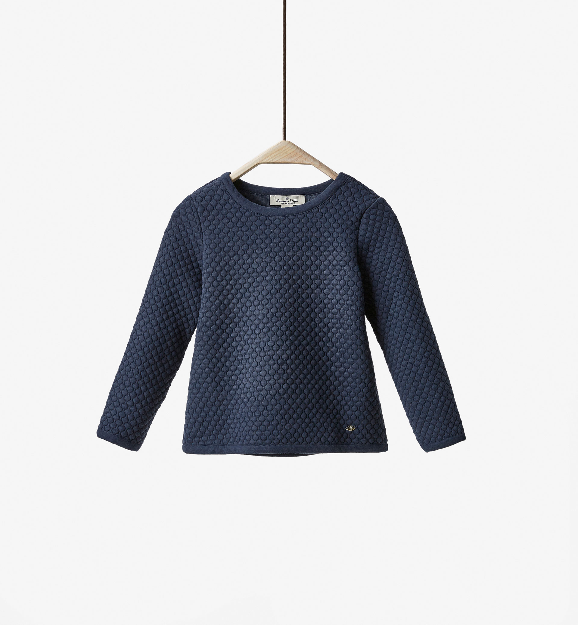NAVY BLUE TEXTURED WEAVE SWEATSHIRT