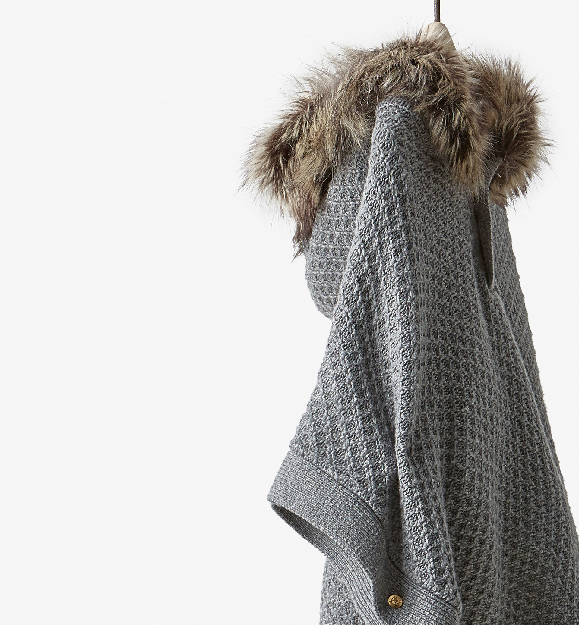 TEXTURED WEAVE HOODED CAPE