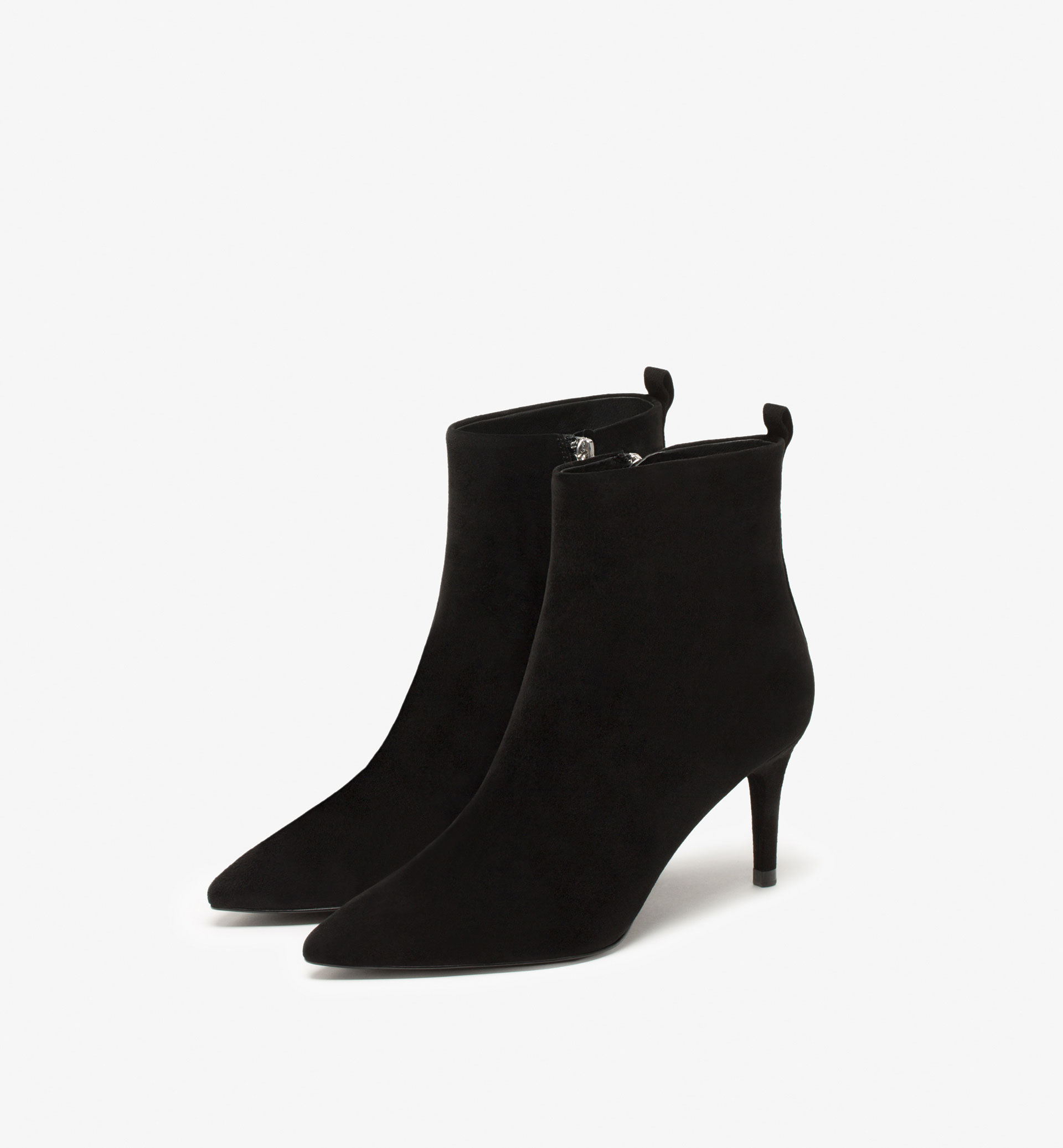 BLACK SUEDE LEATHER HIGH-HEEL ANKLE BOOTS