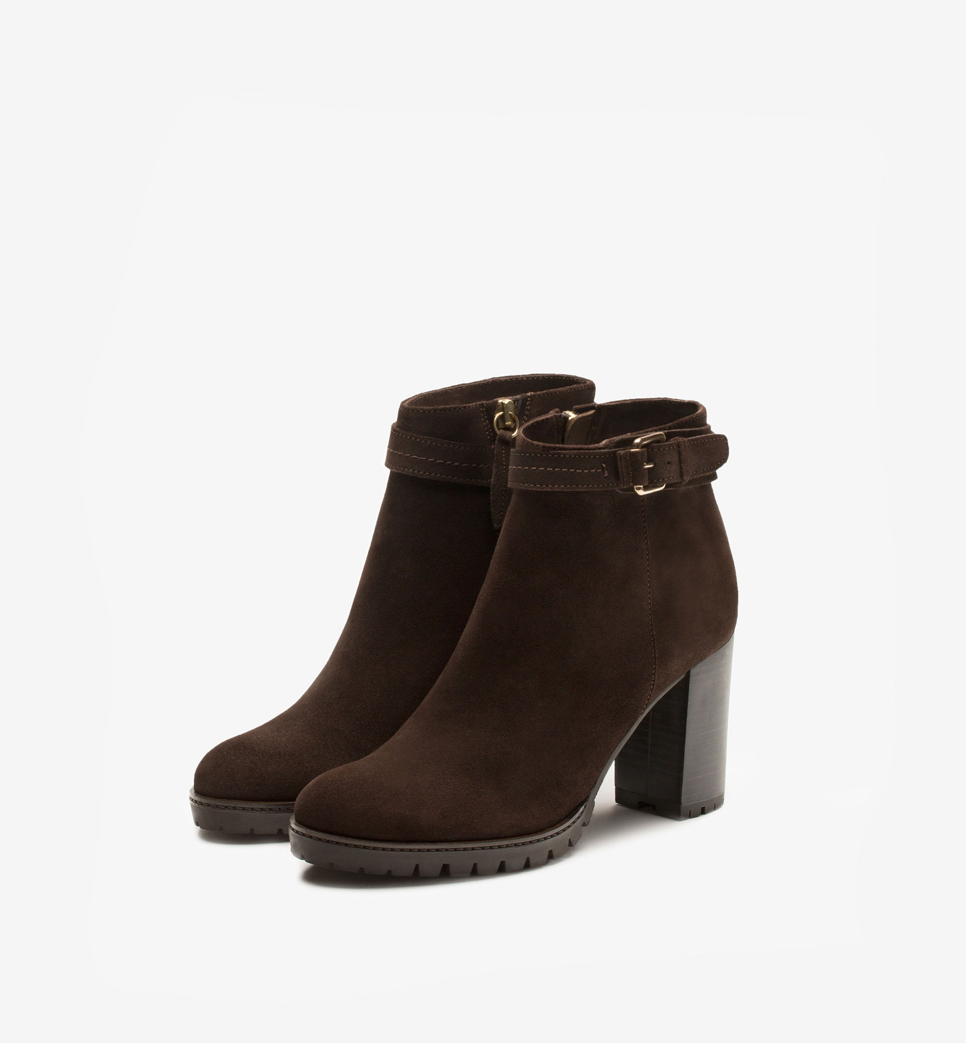 BUCKLED SPLIT SUEDE ANKLE BOOTS