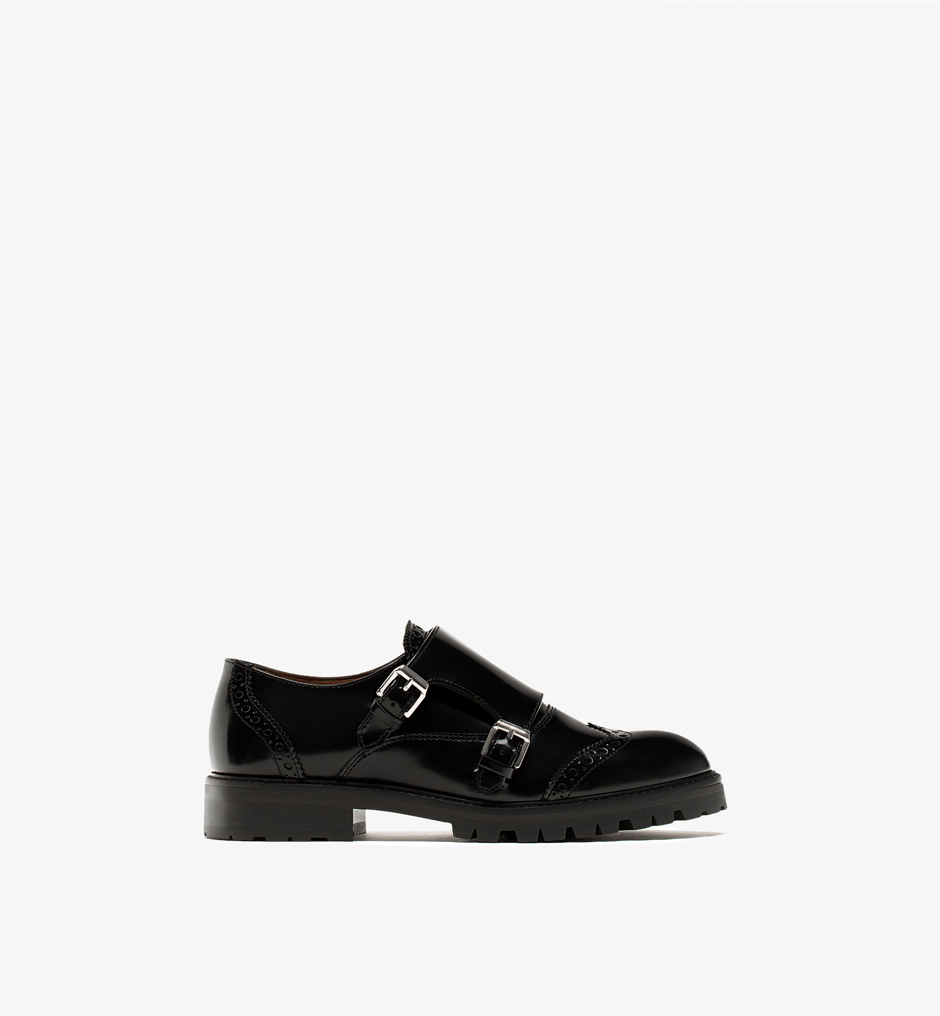 BLACK ANTIK FINISH MONK SHOES