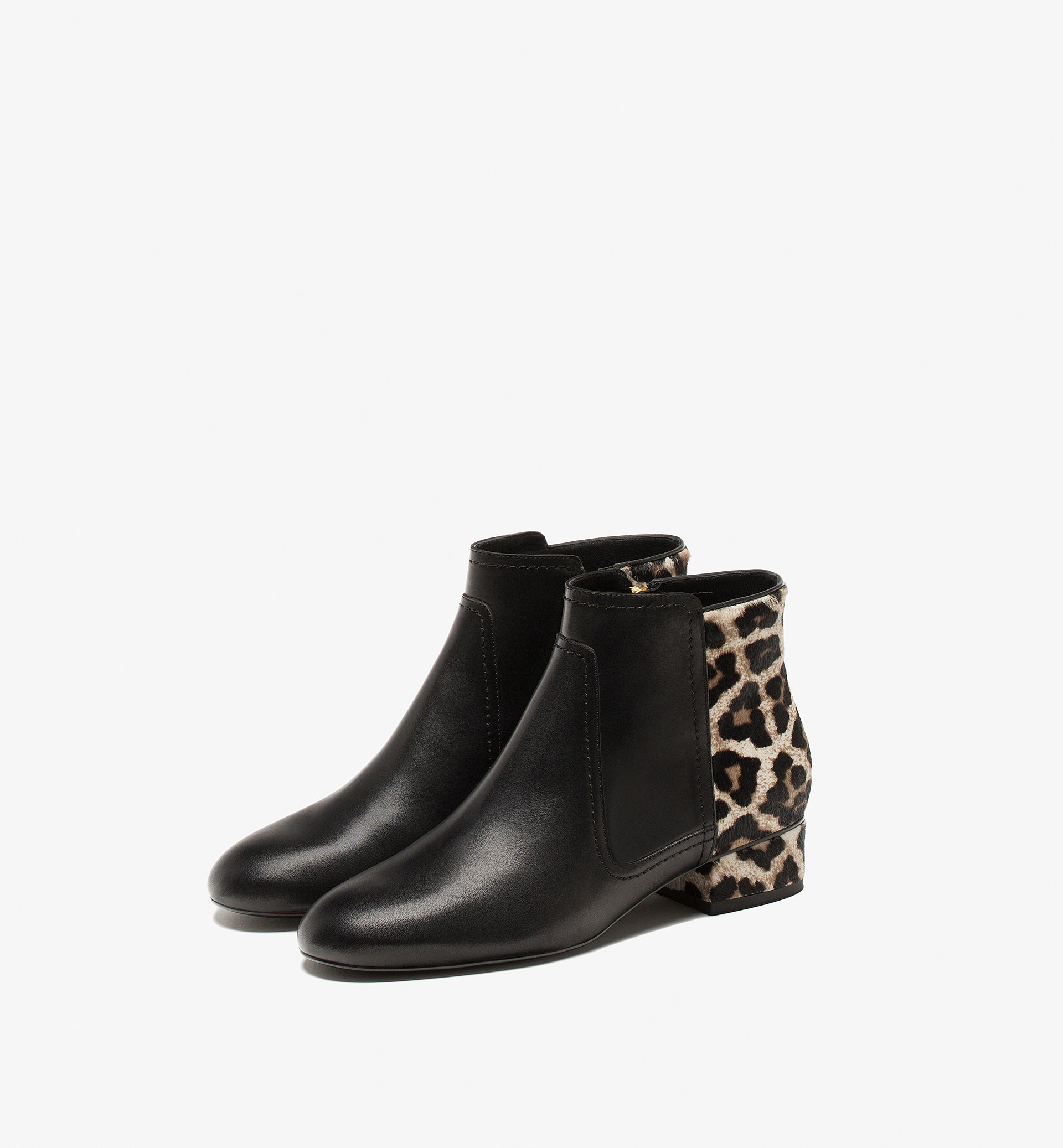 ANIMAL PRINT FLAT ANKLE BOOTS