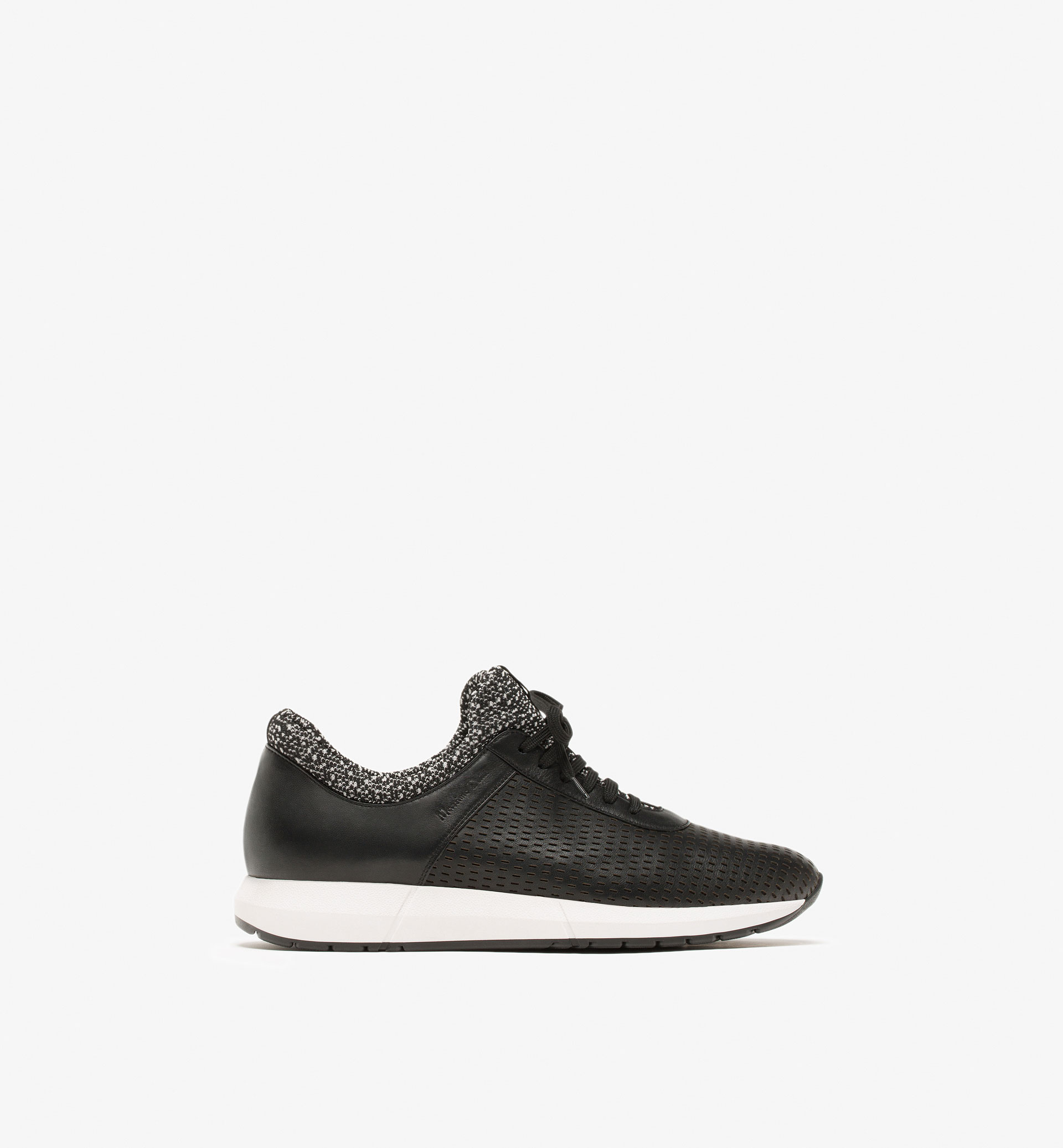 SOFT OPENWORK LEATHER SNEAKERS