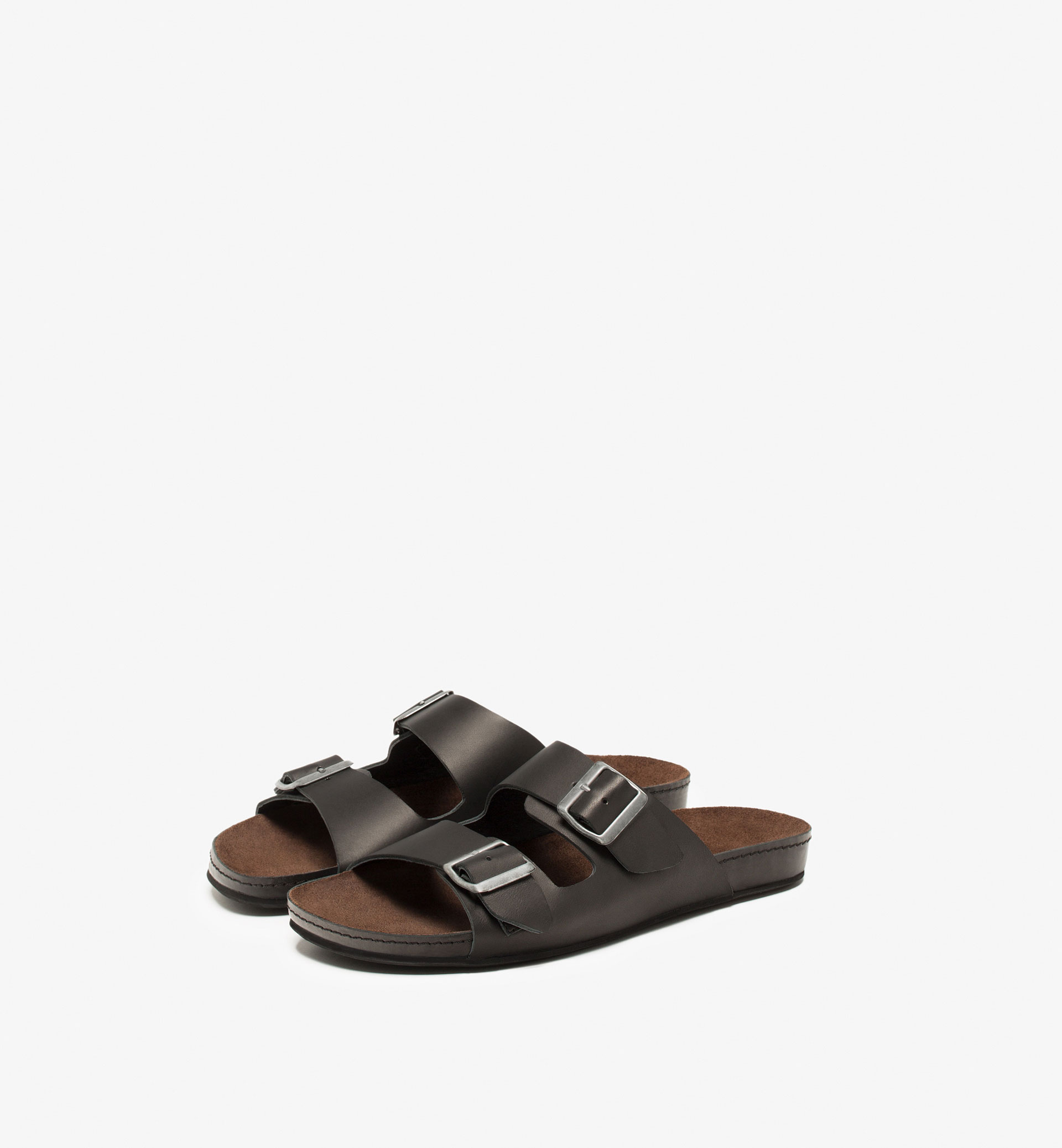 SOFT LEATHER SANDALS WITH A DOUBLE BUCKLE