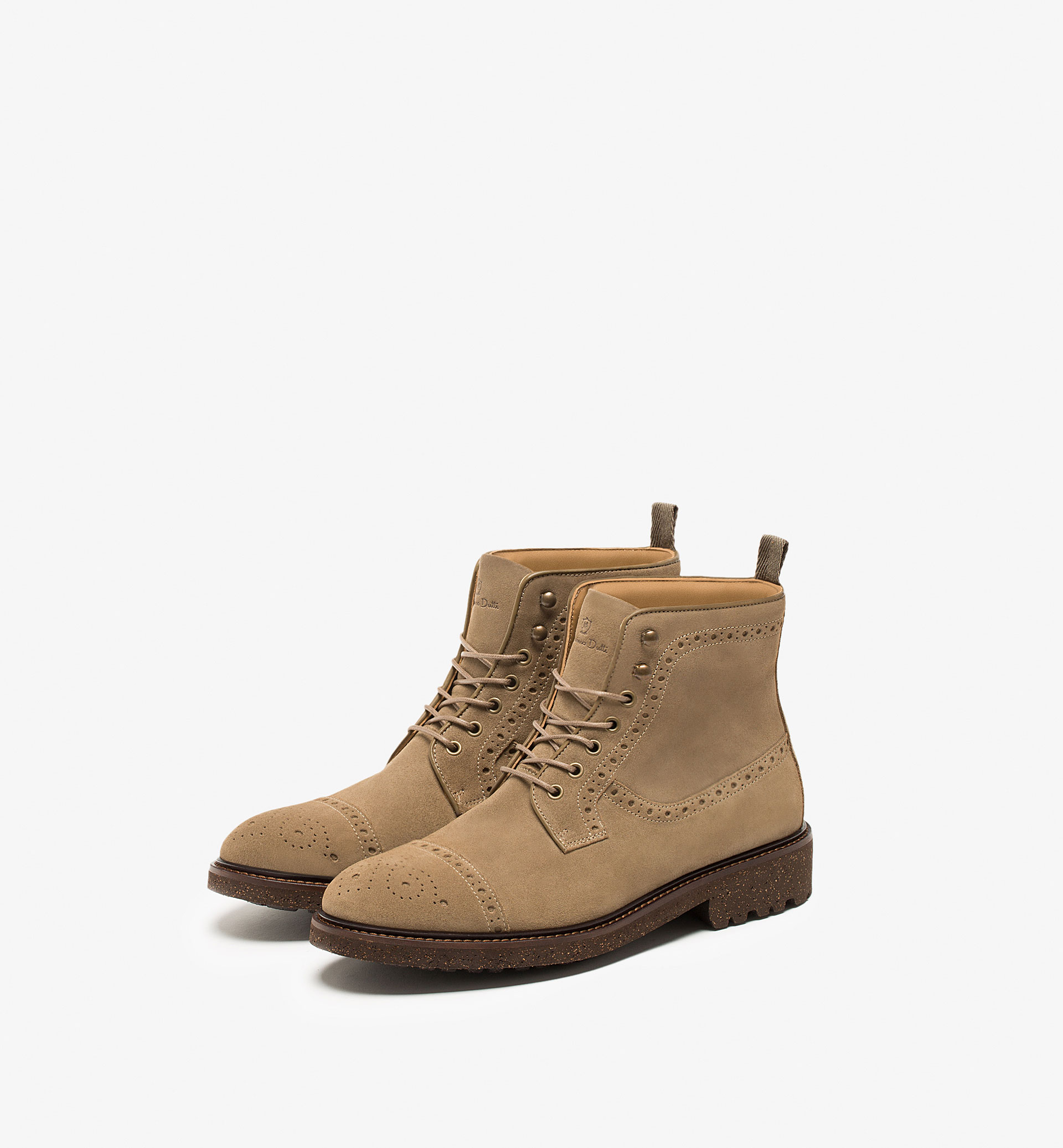 BROGUED SPLIT SUEDE LEATHER ANKLE BOOTS