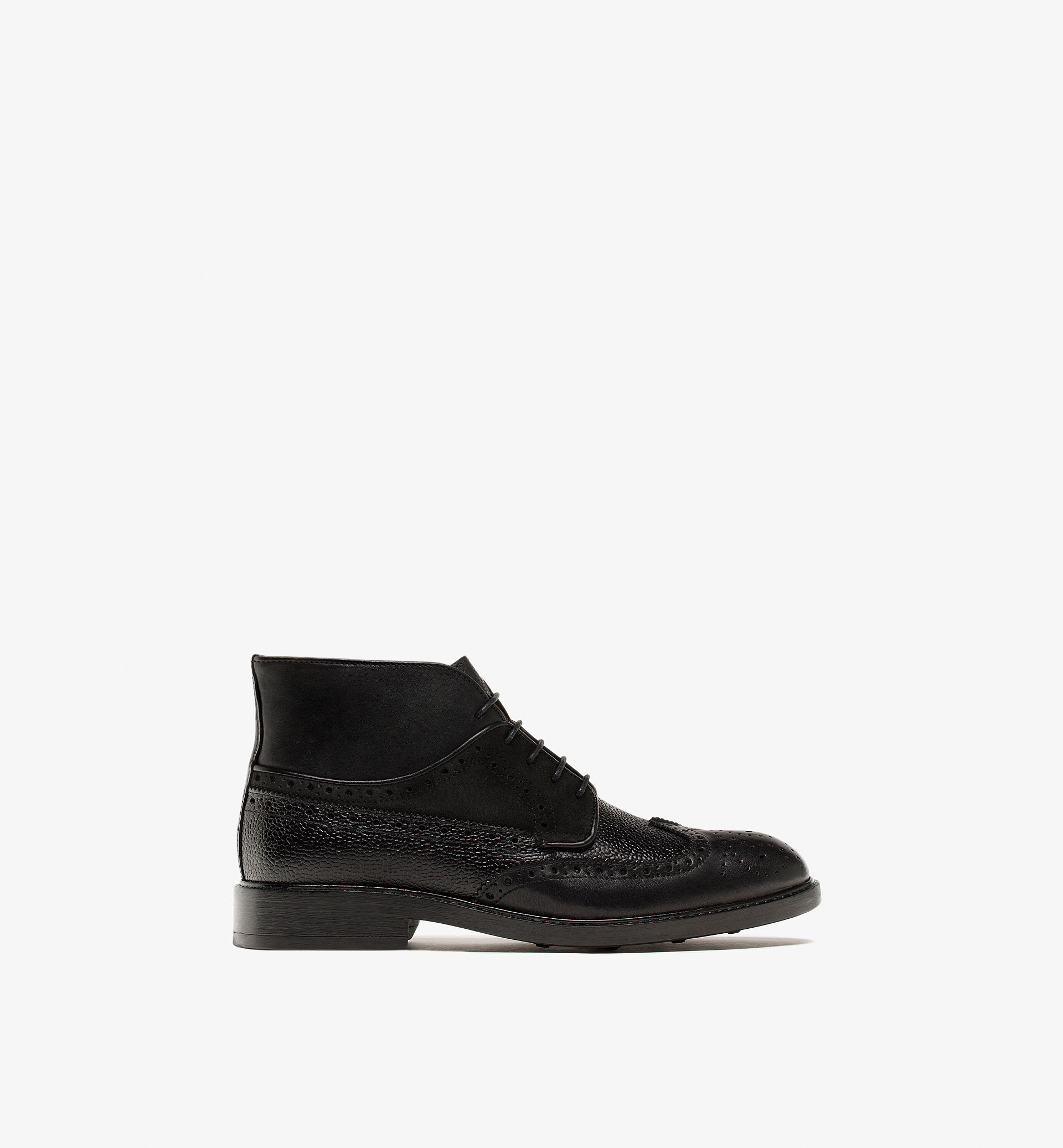 BROGUED LEATHER ANKLE BOOTS