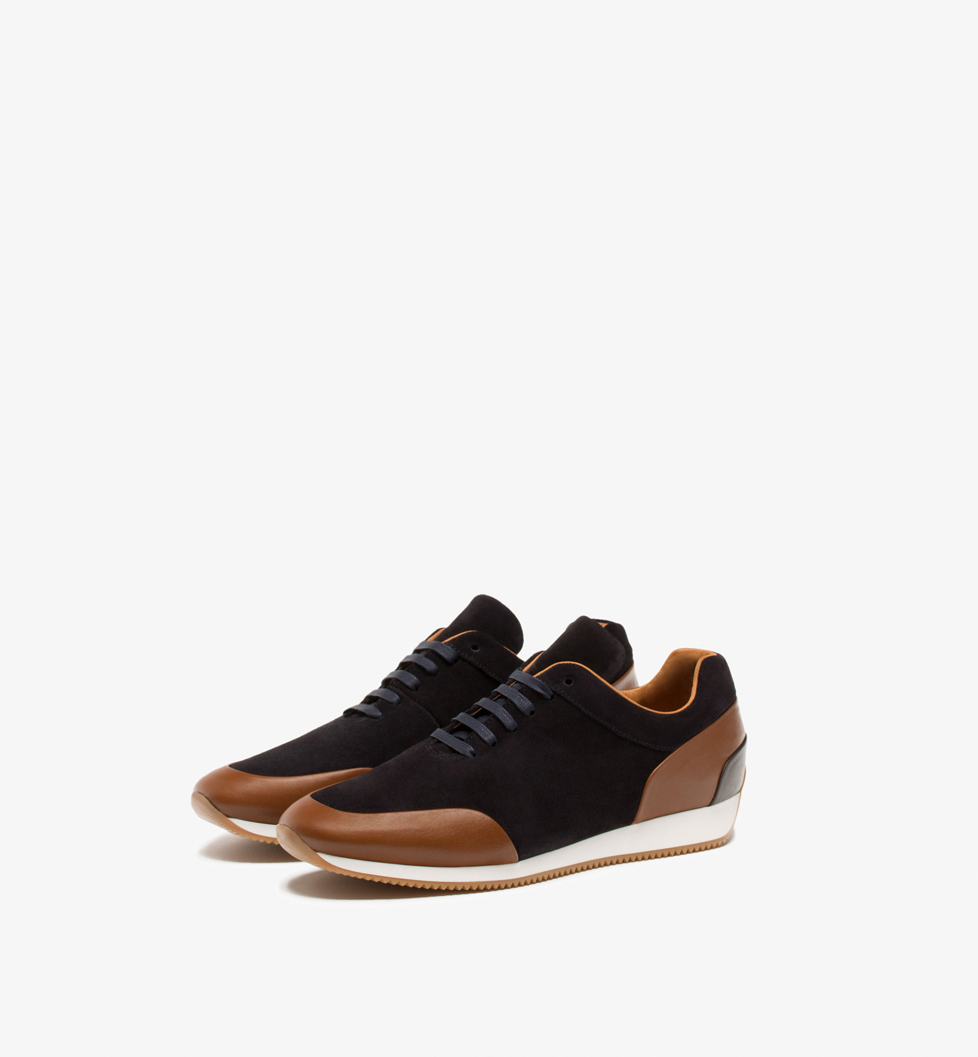 BLUE LEATHER CONTRAST SNEAKERS