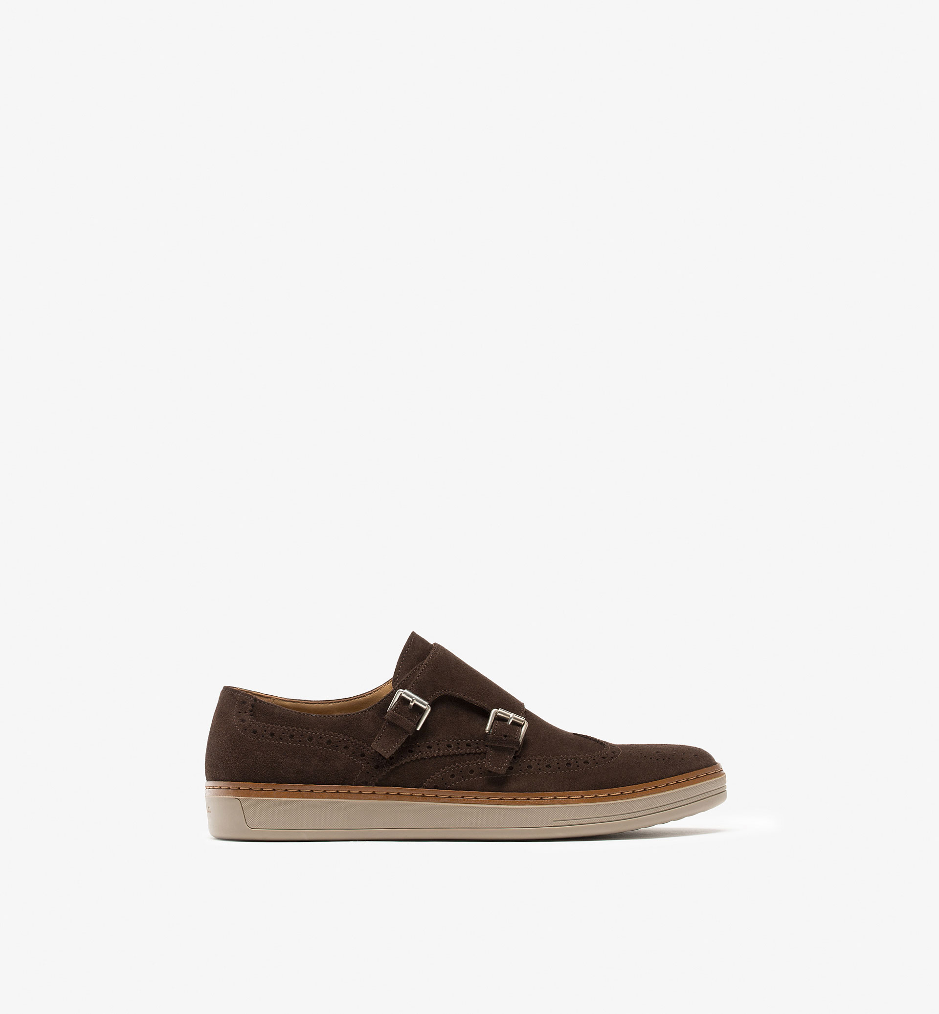 SPLIT SUEDE BUCKLED LEATHER SNEAKERS