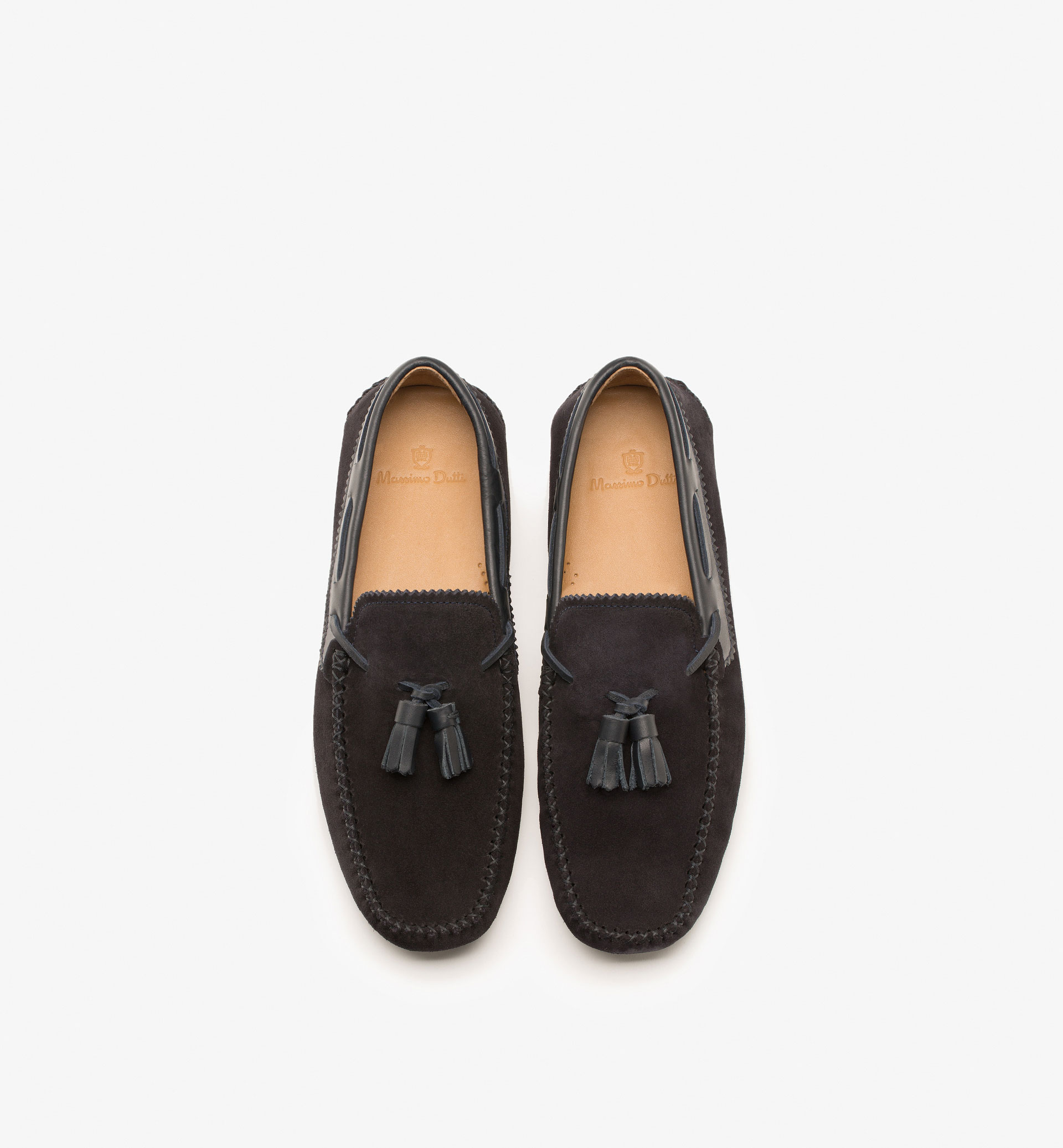 SPLIT SUEDE LOAFERS WITH BLUE TASSELS
