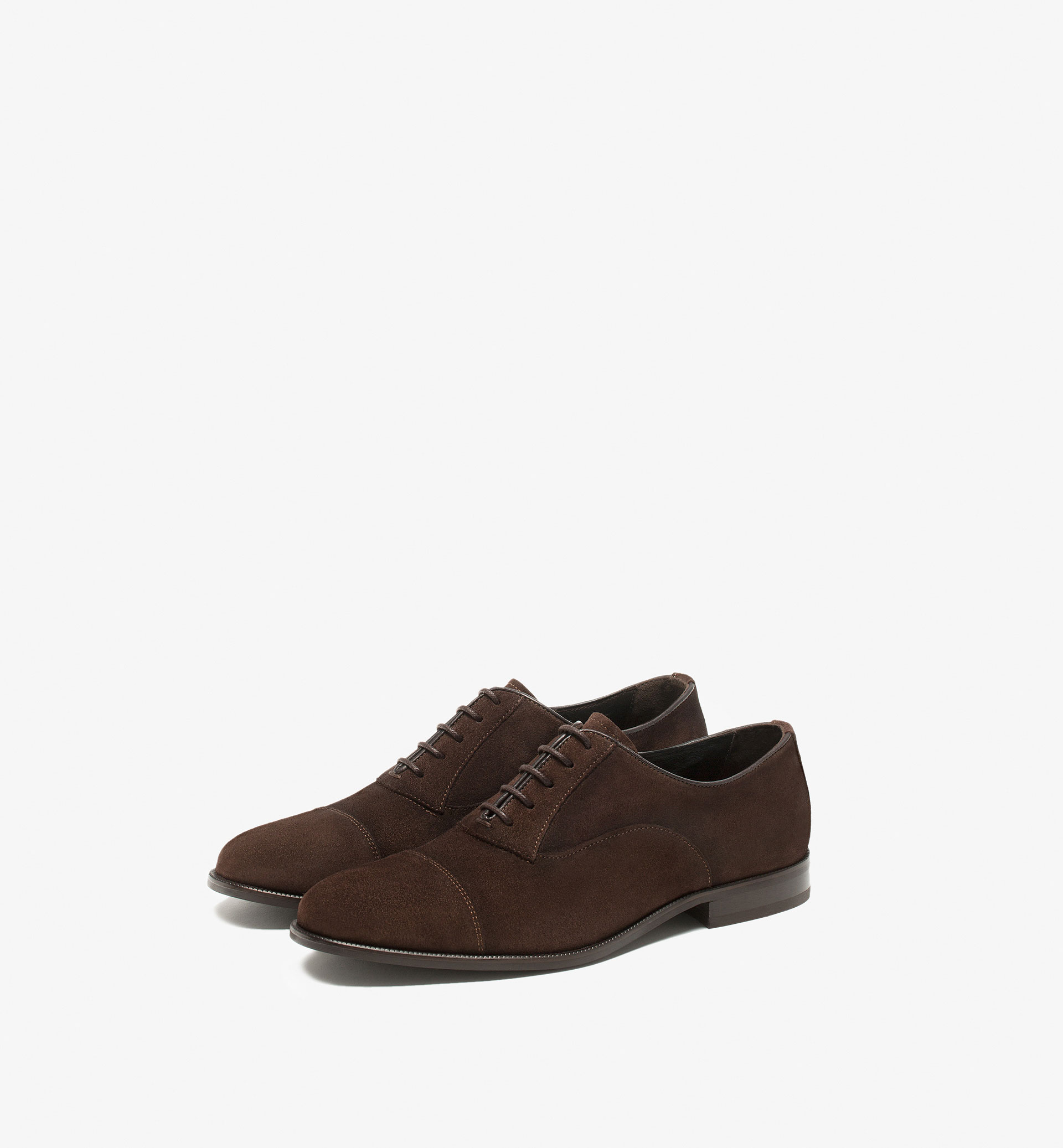 BROWN SPLIT SUEDE OXFORD SHOES