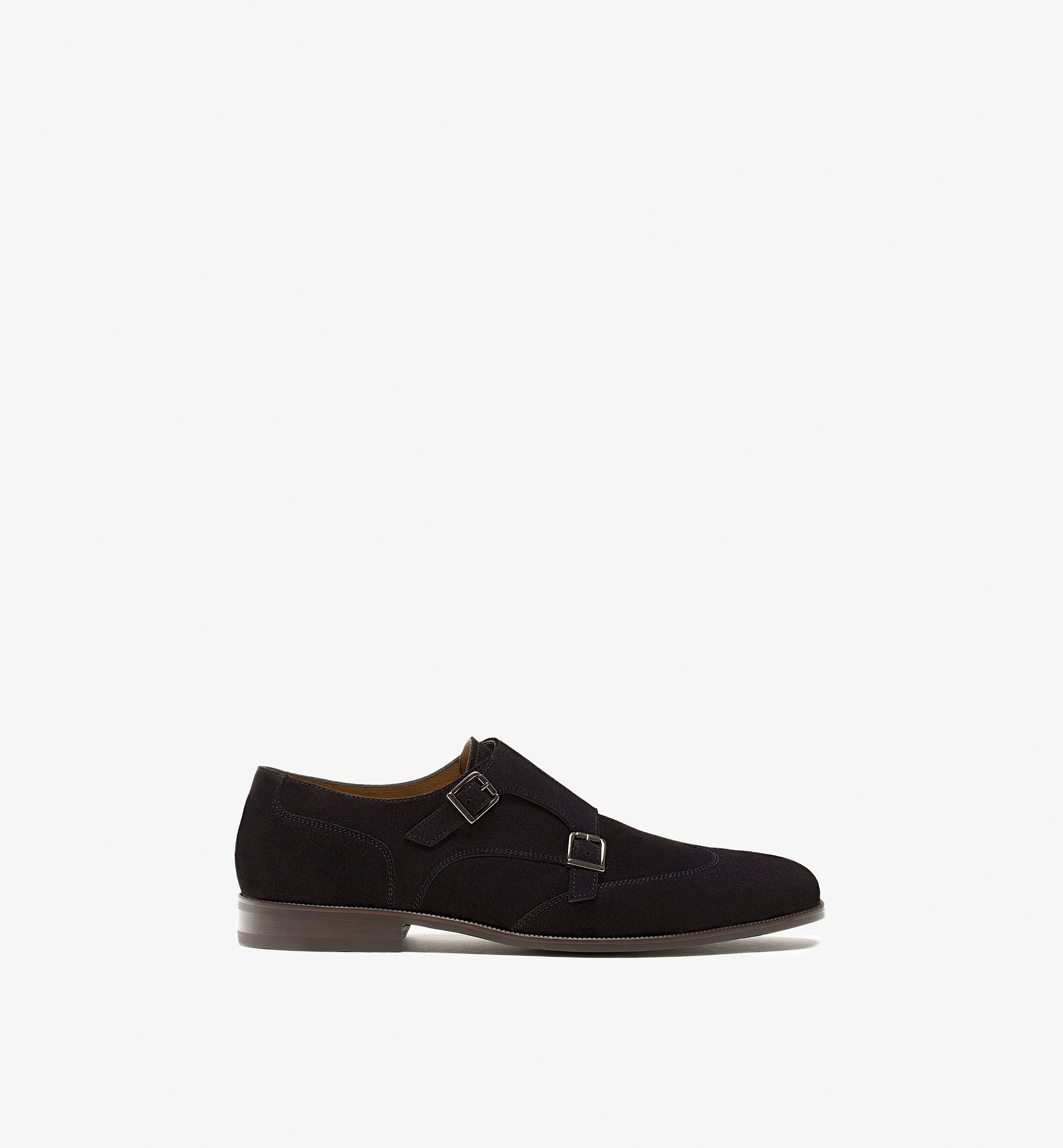 SPLIT SUEDE BUCKLED LEATHER SHOES