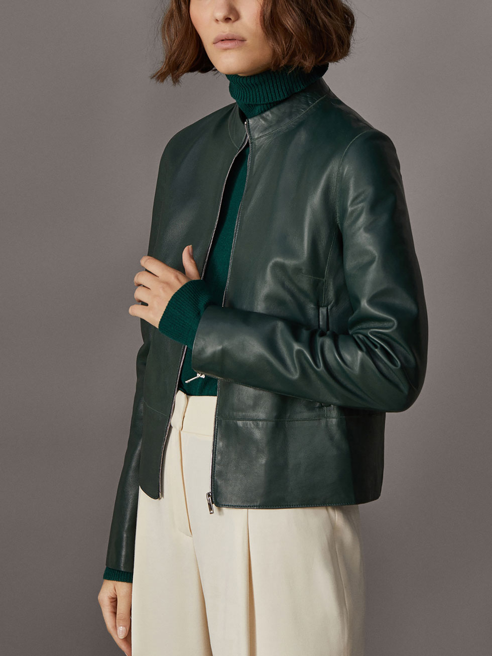 Buy green leather jacket