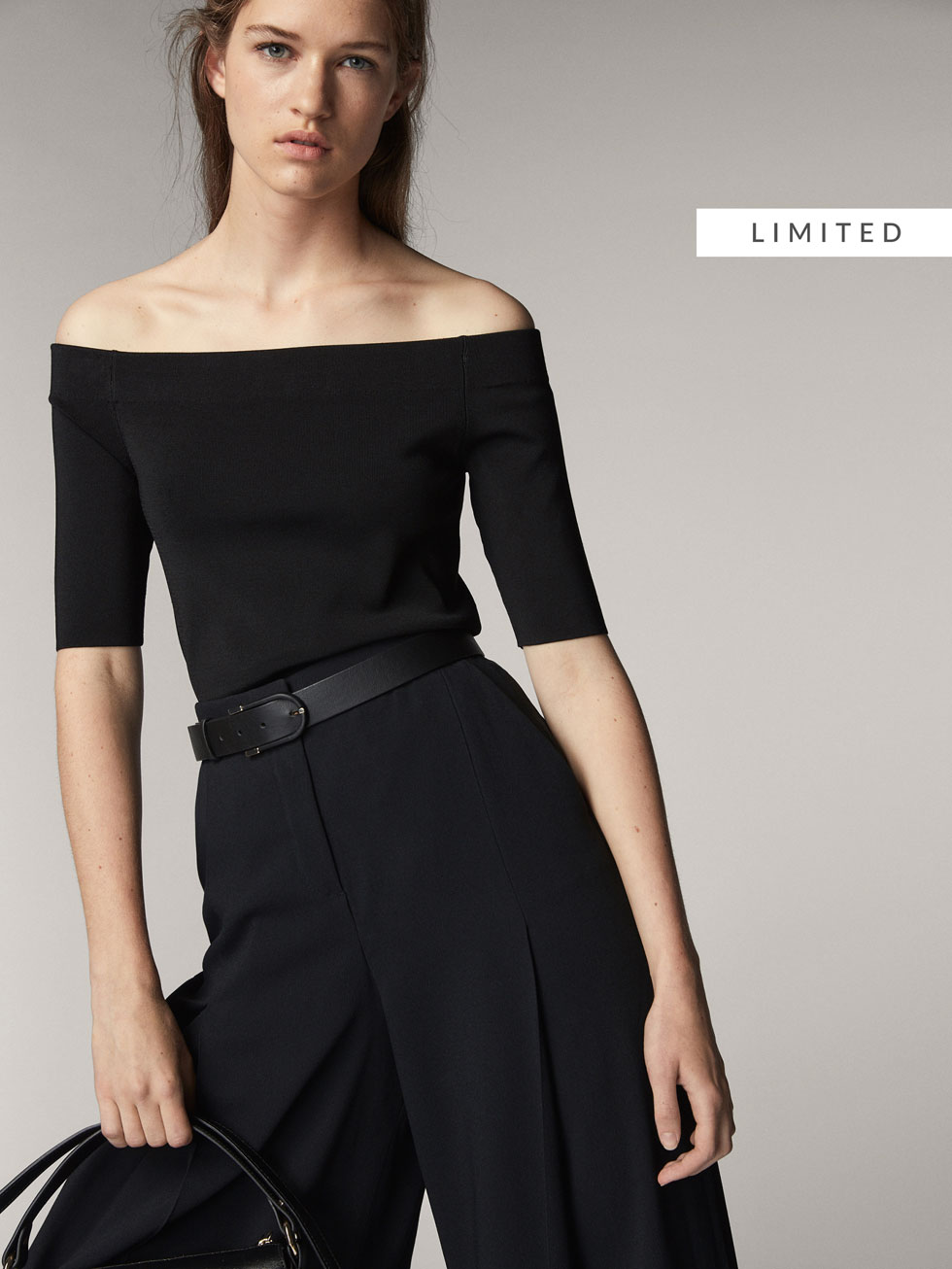 RIBBED OFF-THE-SHOULDER SWEATER - Women - Massimo Dutti
