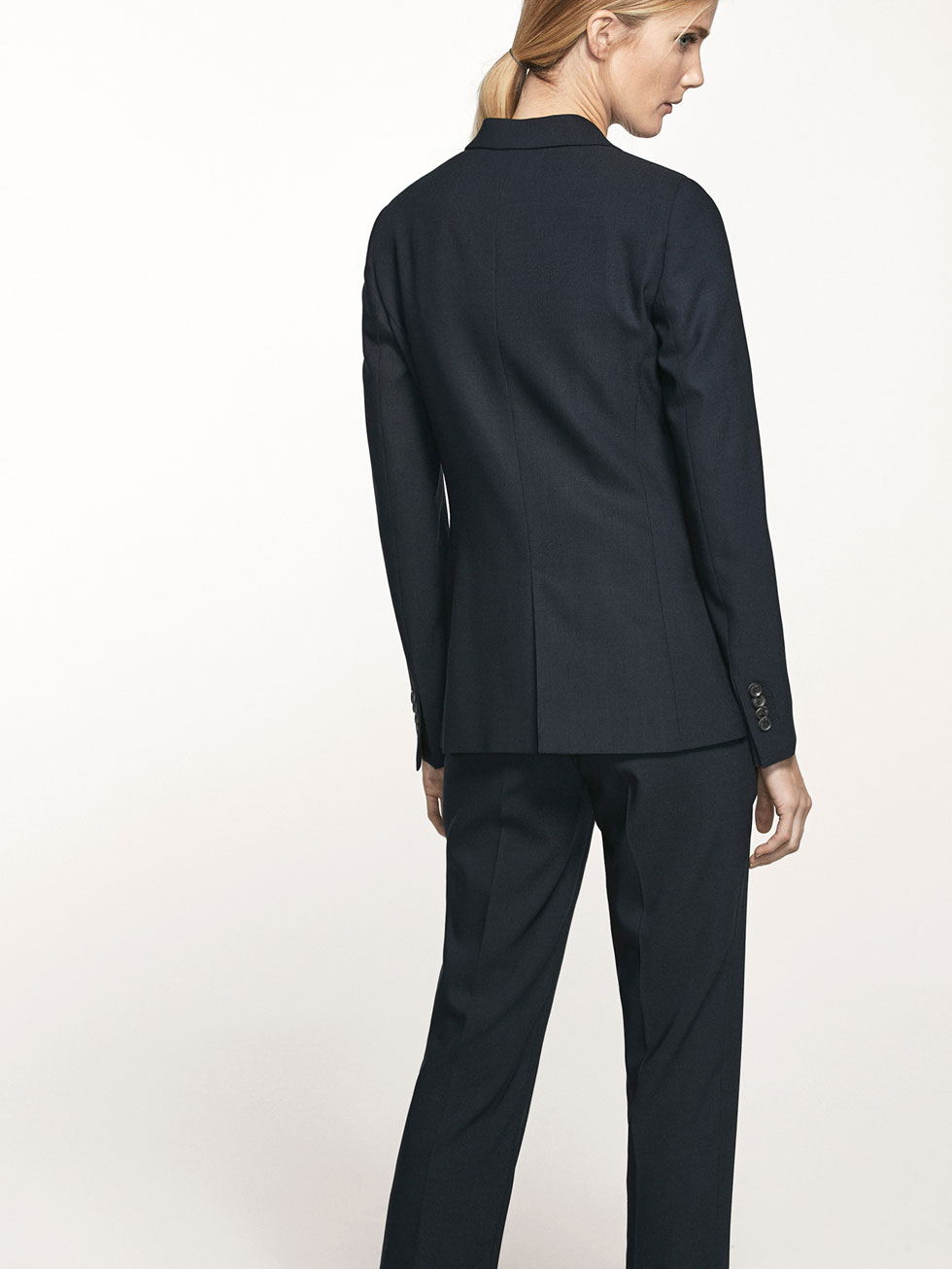 NAVY BLUE SUIT JACKET - Women - Massimo Dutti