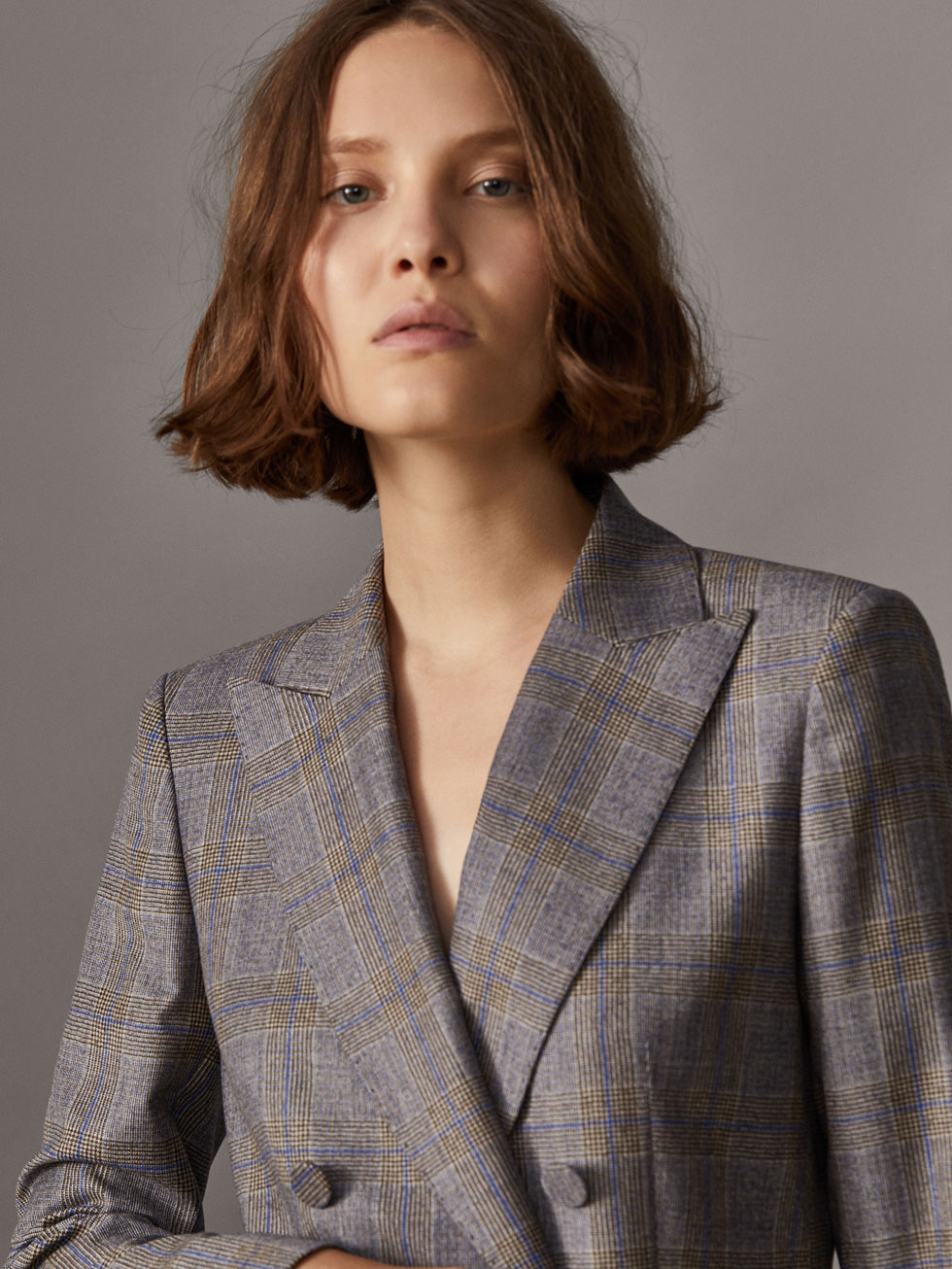 DOUBLE-BREASTED CHECKED SUIT BLAZER - Women - Massimo Dutti