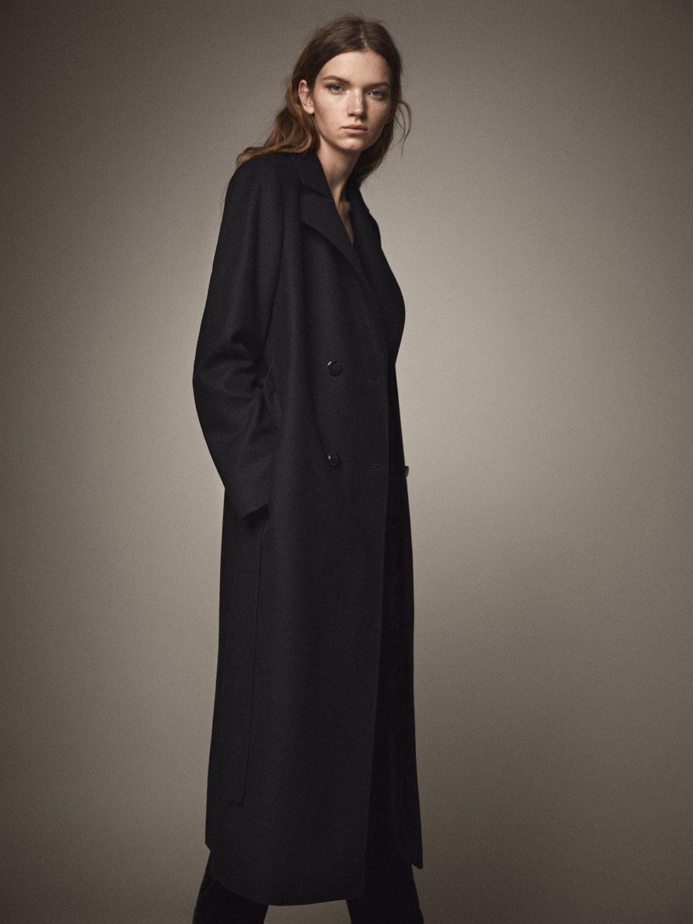 WOOL COAT WITH BELT DETAIL - Women - Massimo Dutti