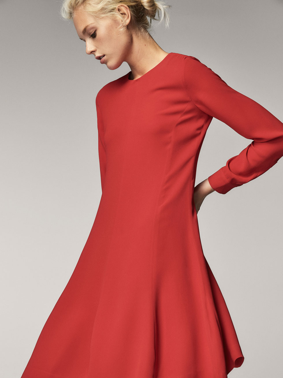 RED A-LINE DRESS - Women - Massimo Dutti