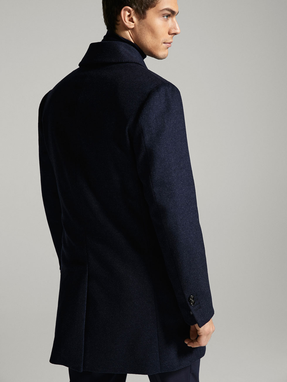 LIMITED EDITION SLIM FIT NAVY BLUE WOOL/CASHMERE COAT - Men ...