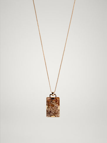 RECTANGULAR STONE NECKLACE
