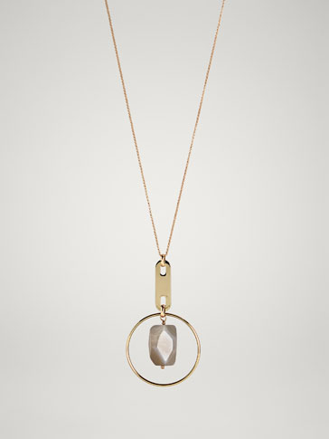 Stone And Hoop Necklace by Massimo Dutti