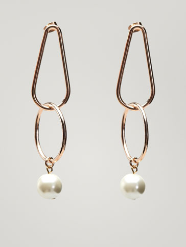 TWO-PIECE EARRINGS WITH FAUX PEARL