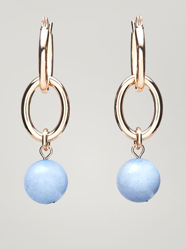 LINKS AND NATURAL STONE SPHERE EARRINGS