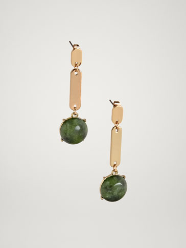 STONE AND OVAL PIECE EARRINGS