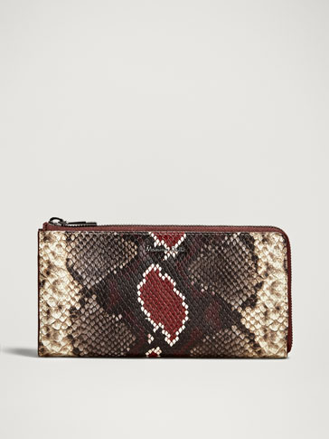SNAKESKIN-EFFECT LEATHER PURSE-WALLET