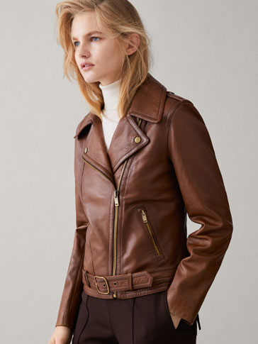NAPPA LEATHER BIKER JACKET WITH BELT