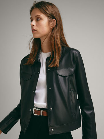 NAPPA LEATHER DENIM-STYLE JACKET