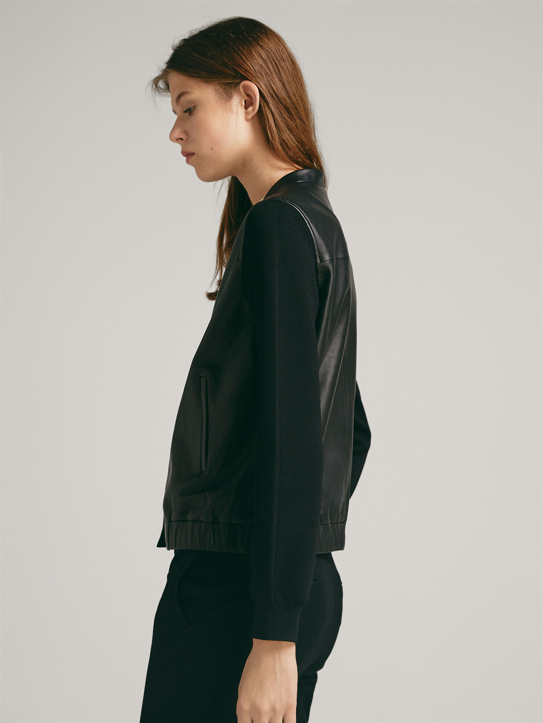 db4912f5e03 Massimo Dutti CONTRASTING NAPPA LEATHER AND KNIT BOMBER JACKET at ...
