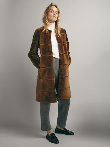 STRIPED MOUTON COAT