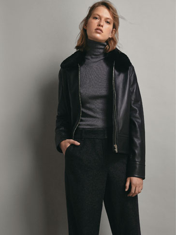 BLACK NAPPA JACKET WITH DETACHABLE MOUTON COLLAR