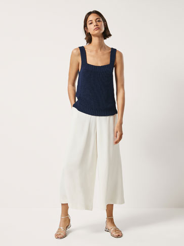 Culotte Fit Textured Weave Trousers by Massimo Dutti
