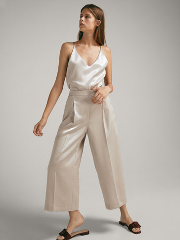 CULOTTE FIT DARTED SATIN TROUSERS
