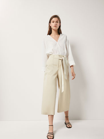 Culotte Fit Cargo Trousers by Massimo Dutti