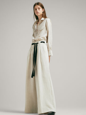 WIDE-LEG TROUSERS WITH CONTRASTING BELT