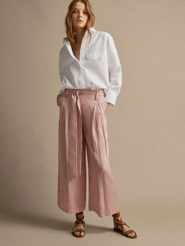 Striped Culotte Fit Trousers With Tie by Massimo Dutti