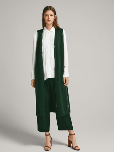 CROPPED VELVET TROUSERS WITH PIPING