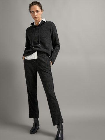 Pinstripe Jogging Fit Trousers With Contrast Piping by Massimo Dutti