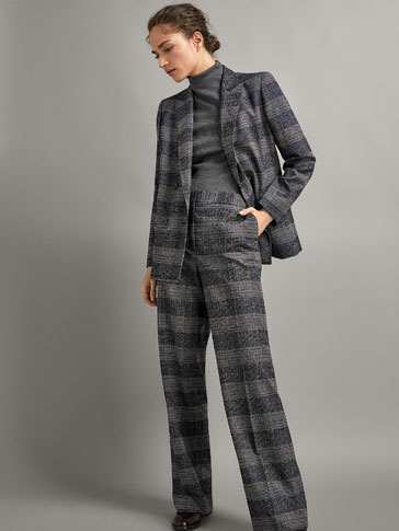 WIDE FIT CHECK TEXTURED WOOL TROUSERS