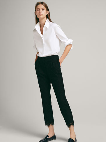 CROPPED GUIPURE TROUSERS