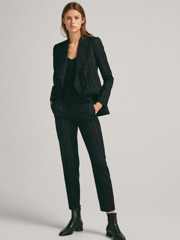 SLIM FIT PINSTRIPE WOOL TROUSERS