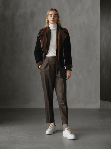 PANTALONI SLIM FIT DIN LÂNĂ HERRINGBONE WINTER CAPSULE