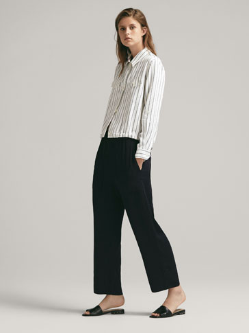 CROPPED FIT CARGO TROUSERS