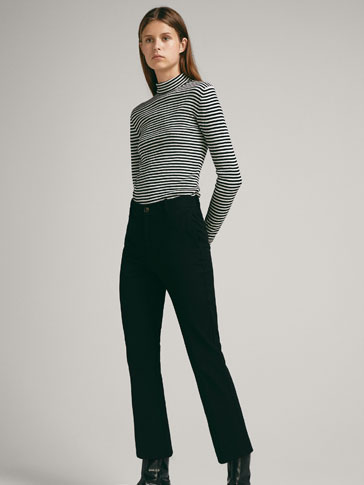 PANTALÓN HIGH RISE NEGRO CROPPED FIT