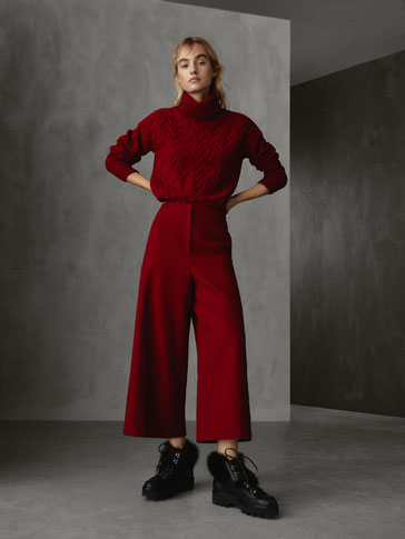 WINTER CAPSULE TEXTURED HERRINGBONE WOOL CULOTTES