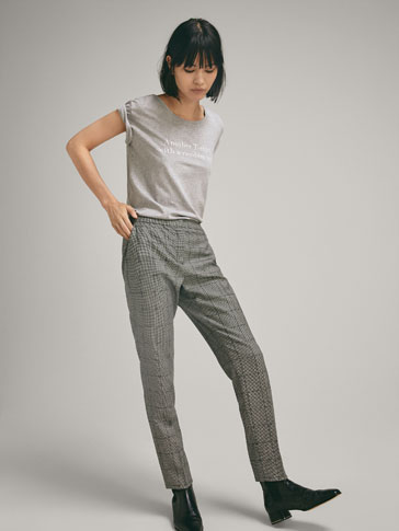 SLIM FIT WOOL HOUNDSTOOTH TROUSERS